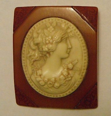 Vtg Butterscotch Bakelite Cameo Brooch ~ Simichrome Tested