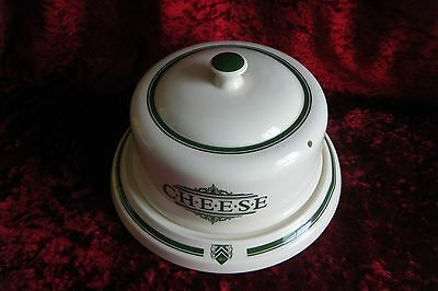 1869 Victorian Pottery Company Made England Farmhouse Cheese Dome Platter Green