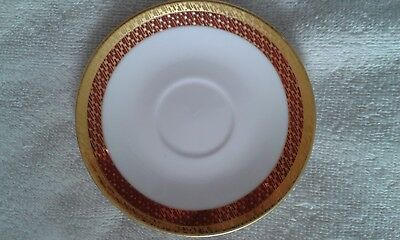 Saucer, Fine Porcelain, Red/Gold, Sheng Xing