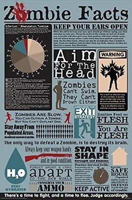 Zombie Facts Infographic Poster Art Print 24x36 USA Seller