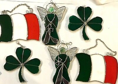 6-Piece Set Stained Glass 6  inch Irish Flag-Clover-Angle Sun Catchers  9046-10