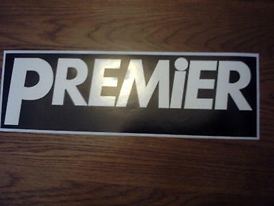 Premier type LARGE size vinyl decal TWO COPIES (White lettering on black vinyl)