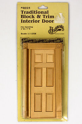 Houseworks #6025 Traditional Block and Trim Interior Door Mint in Package 1:12