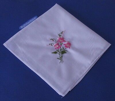 3  White  Embroidered  ladies Hankies 1 each of Pink  Aqua & Purple  27 x 28 cm