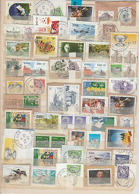 Oct704 Selection Of Irish Used Stamps On Paper