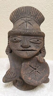 Pre-Columbian Teotihuacan or Aztec Figure Statue God With Shield