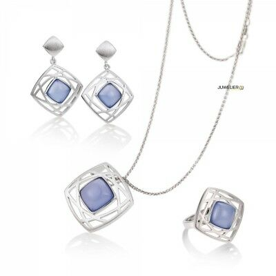 Jewellery Set in 925 Silver with real Agate Chalcedony 98_6045 Made by Breuning