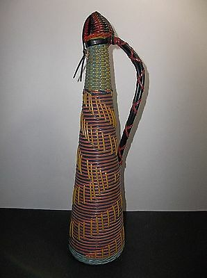 Vintage 1960s Spanish Woven DECANTER Bottle PINK Black YELLOW Green