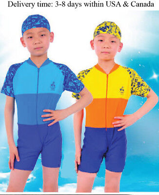 Y0327 one piece beach swimsuit for boys and girls-1 piece Rash guard for kids