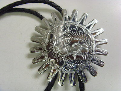 vintage western america extra large chrome steel sun disc engraved bolo 48225