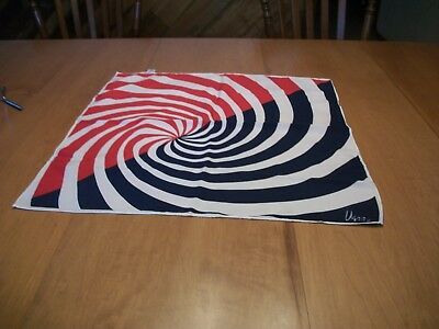 "Vintage Vera 100% Polyester scarf made in Japan red, white and blue  21""x21"""