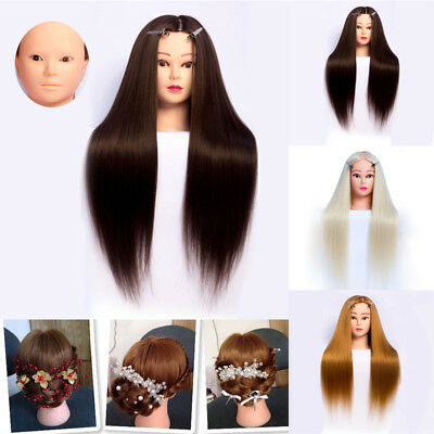 """Practice Training 24"""" Head Human Long Hair Model Hairdressing Mannequin Doll"""