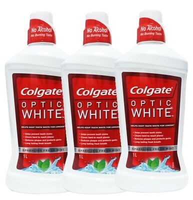 3 x COLGATE 1L OPTIC WHITE MOUTHWASH ALCOHOL FREE SPARKLLING FRESH MINT - NEW