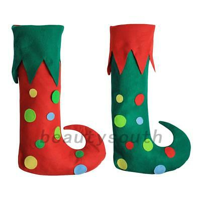 Green Red Merry Christmas Elf Boots Shoes Xmas Costume Performance Stage