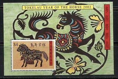 CHINESE NEW YEAR OF THE HORSE ON TOKELAU 2002 Scott 307 SOUVENIR SHEET, MNH