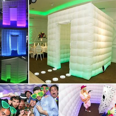 2.5m 1 Door 8 LED Color Bulb Strip Inflatable Photography Booth Enclosure Cube T