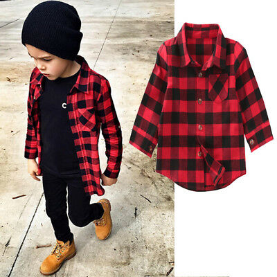 1-7Y Baby Kids Boys Girls Long Sleeve T Shirt Checks Tops Blouse Clothes Outfit