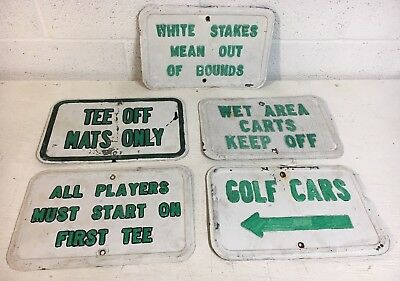 Vtg Lot Set Grouping Used Old Golf Course Embossed Steel Signs Cart Tee Greens