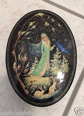 Russian Lacquer Box Oval Signed Made in Russia Princess Nature Maiden Snow VTG