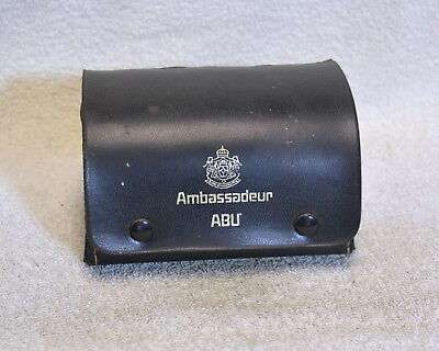 Vintage Abu Garcia Ambassadeur ABU Black Leather Reel Case