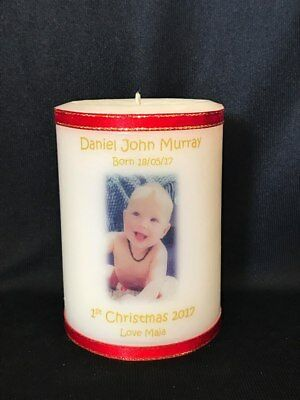 Personalised Candle Wedding Anniversary Christening Baptism Naming Memorial