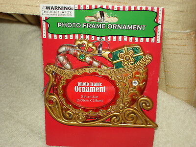 Gorgeous Golden Metal Sleigh Shaped Christmas Photo Ornament: New On Card