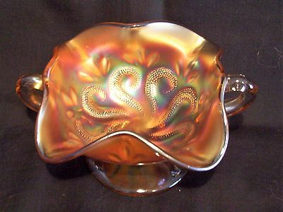 Carnival Glass Dugan Twin Handle Bon Bon Dish Marigold Question Marks Exc Con
