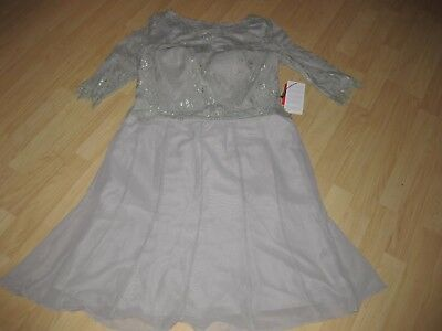NWT JJ's House Formal  Dress Silver, Lace on Top Size 14
