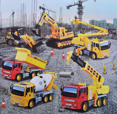 New Toy Construction Vehicle 6pc Set Crane Digger Cement Mixer Tipper Excavator