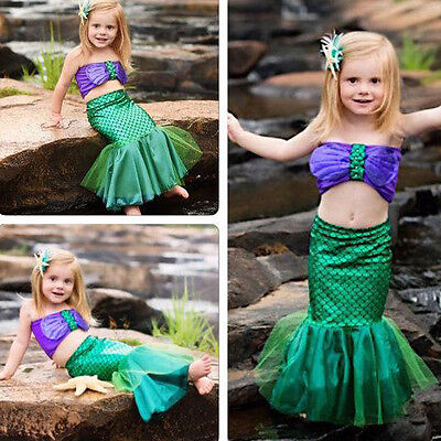US Stock Sequins Newborn Baby Girls Lace Little Mermaid Bikinis Costume Outfits
