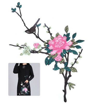 Peony Floral Flower Embroidered Sew Patch Applique Badge Clothes Dress Decor