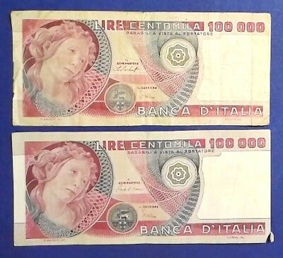 ITALY: 2 x 100,000 Lira Banknotes Fine Condition