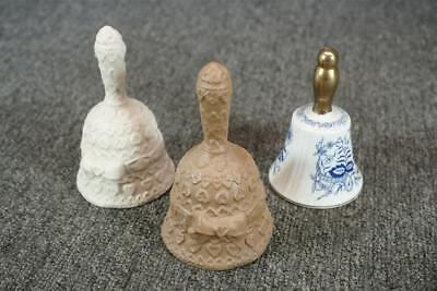 """Set Of 3 Ceramic Vintage Bells About 4"""" Tall One Is Enesco"""