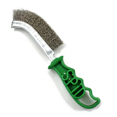 Spid Stainless Steel Wire Scratch Brush Green Handle Rust Removal Metal Prep