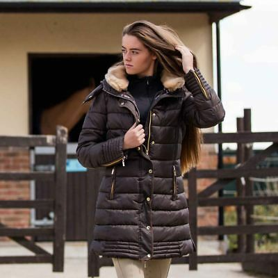 Mark Todd Ladies Deluxe Long Padded Coat Chocolate
