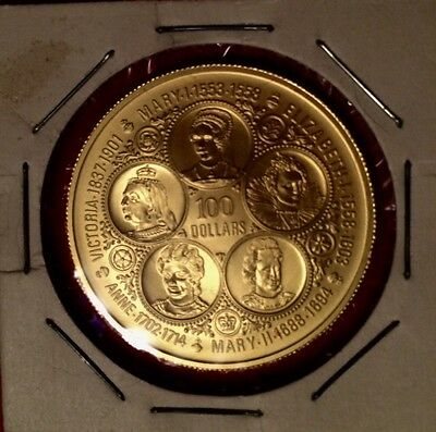 Cayman Island $100 Gold Coin Five Past Queens Plus Current Queen On Front