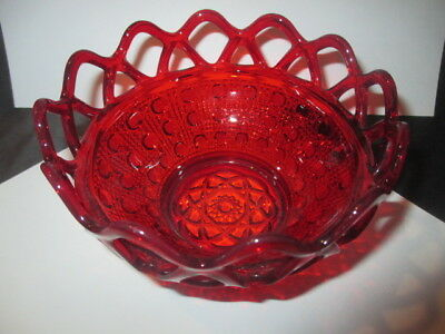 "Imperial Red Glass Cane & Button Rose Bowl Open Lace Collar 5"" - 5.25"""