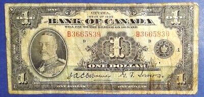 CANADA: 1 x 1 Dollar Banknotes (1935 Issue) - Fine Condition