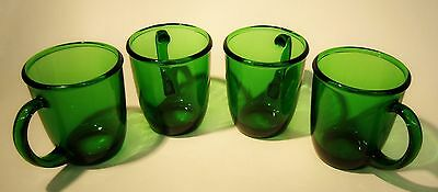 Set Of 4 Vintage Coffee Mugs * Rich Sparkling Emerald Green Quality Glassware