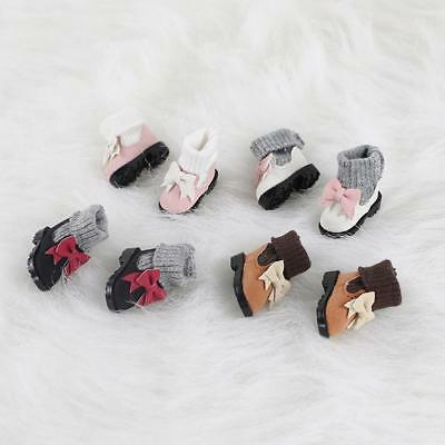 4X Cloth&PU Leather Boots for 1/6 Blythe Azone Momoko Dolls Bowknot Shoes