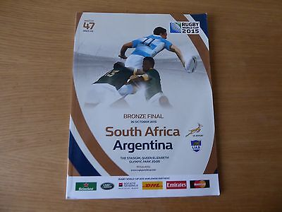 2015 Rugby World Cup bronze final programme SA v Argentina