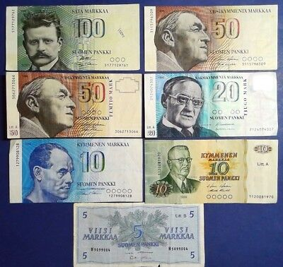 FINLAND: Set of 7 Markkaa Banknotes  - Very Fine Condition