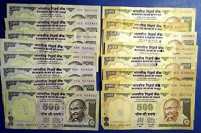 INDIA: 16 x 500 Rupee Banknotes - Very Fine Condition