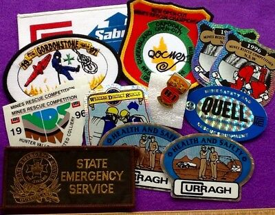 BARGAIN Lot (12+) MINING STICKERS Rescue Team Mine PATCHES & Badges .. FREE POST