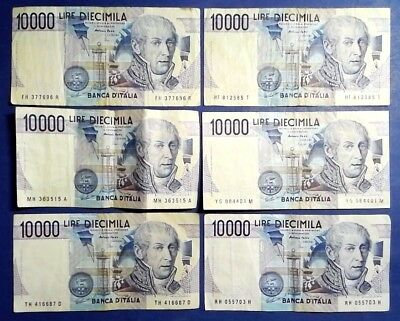ITALY: 10 x 10,000 Lira Banknotes Fine Condition