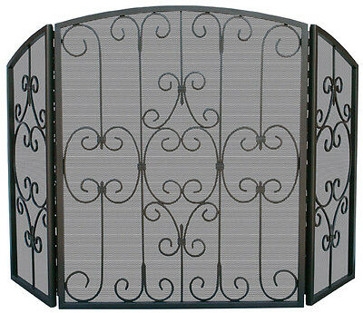 """Uniflame 3 Fold Graphite Screen with Decorative Scrollwork - 31"""" h x 49.25"""" w"""