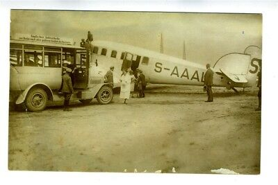 Bus Picking Up Passengers at Junkers Templehof Airport 1924 Real Photo Postcard