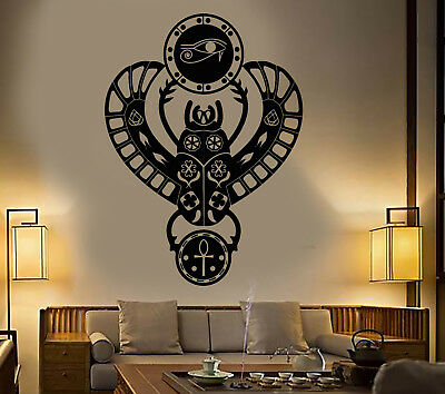 Vinyl Wall Decal Ancient Egyptian Scarab Beetle Eye of Horus Stickers (1870ig)