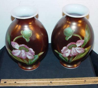 Pair Of Antique Floral Enameled Vases Decorated Bronze Gold Milk Glass !