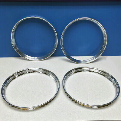 """14"""" Stainless Steel Chrome HOT ROD Ribbed Trim Rings / Beauty Rings New SET OF 4"""